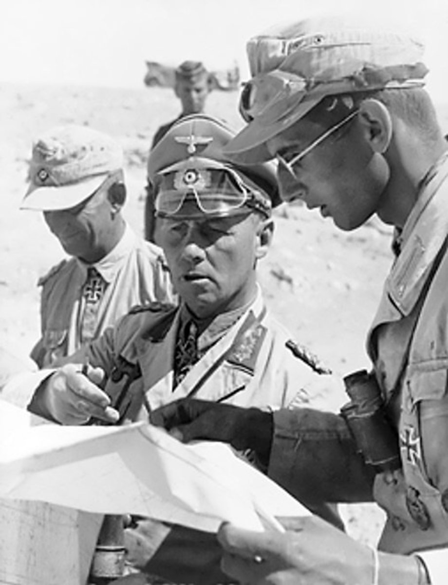 Field Marshal Erwin Rommel, with aides during the desert campaign Spring 1942.