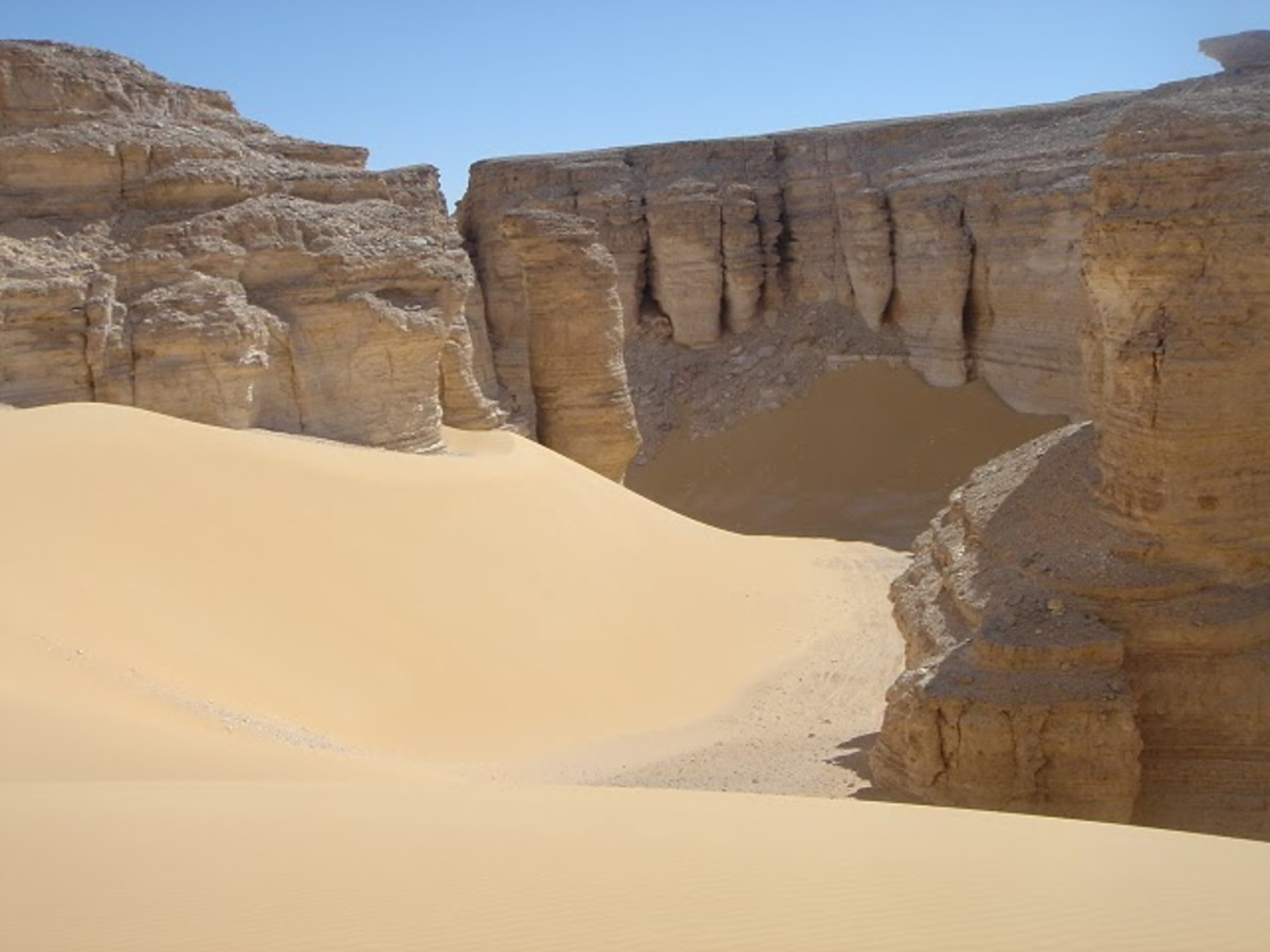 The Western Desert's Qattara depression is a tear dropped depression with 919 feet steep walls that ringed the edge of the battlefield.