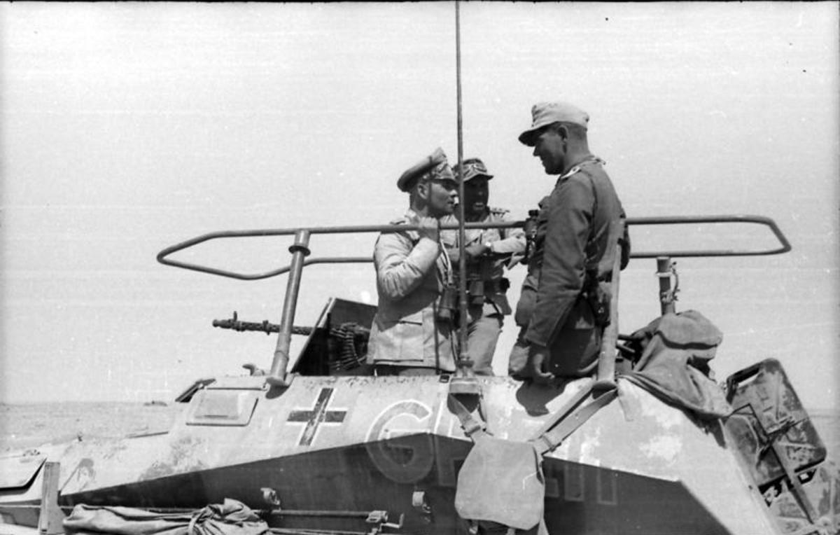 Erwin Rommel and Fritz Bayerlein near Bir Hakeim May 1942 the southwest flank of the Gaza Line. Once around Bir Hakeim Rommel would have flanked the Gazala Line and strike the British forces from the rear.