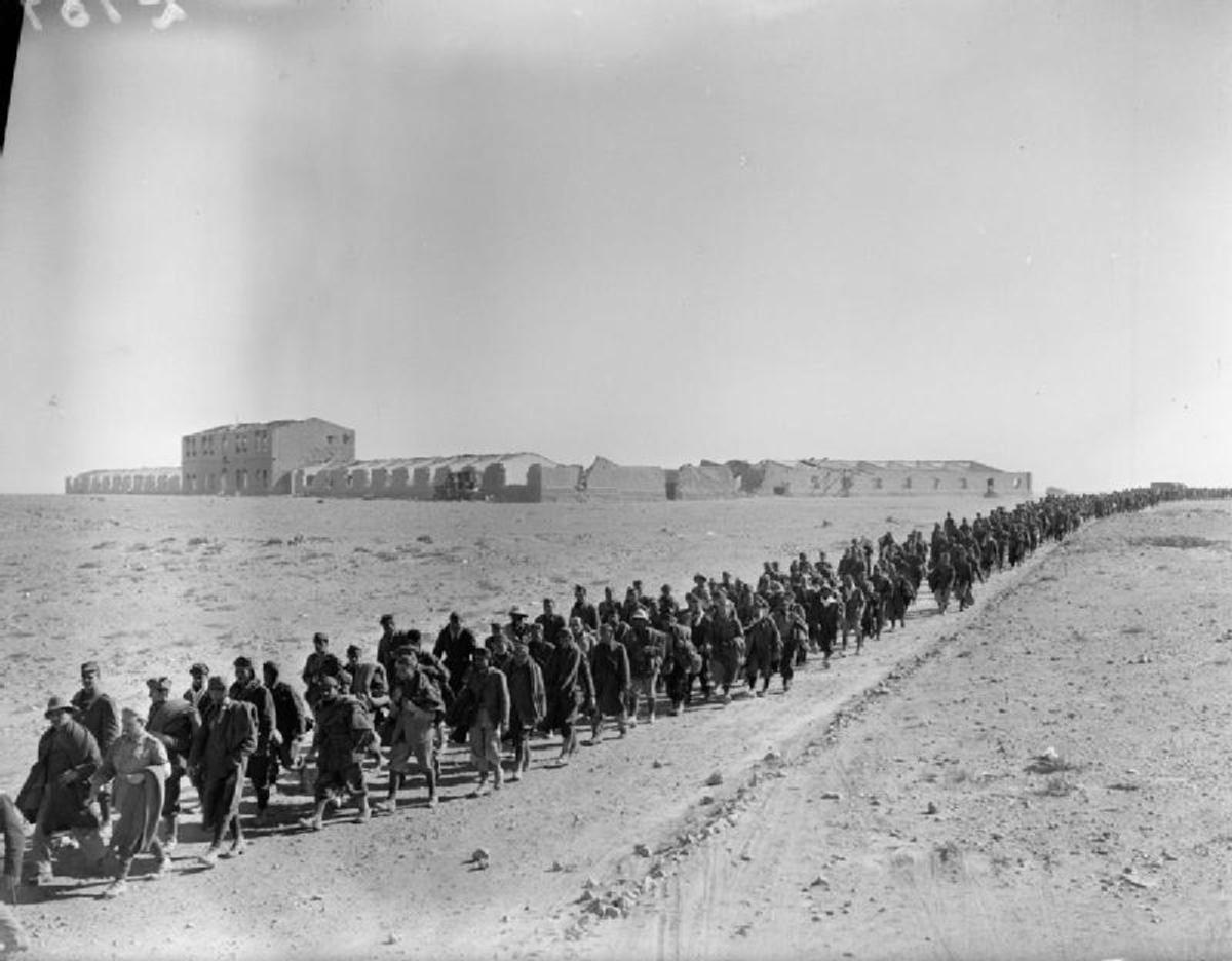 Italian troops captured after the Battle for Sidi Barrani  the British army almost captured Mussolini's entire invasion force.