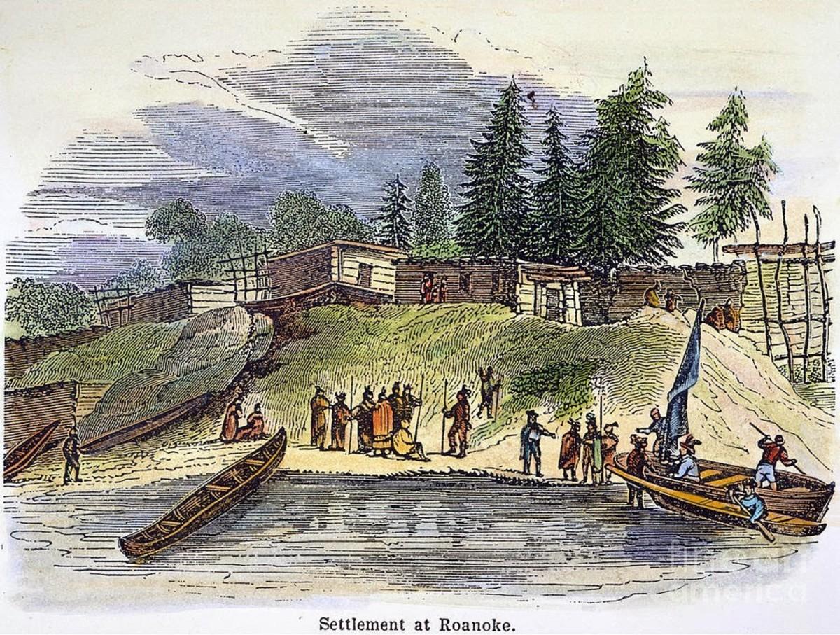 Settlement of Roanoke painting