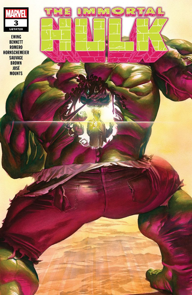 Cover of issue 3 of The Immortal Hulk, showcasing some of its gruesome body horror.