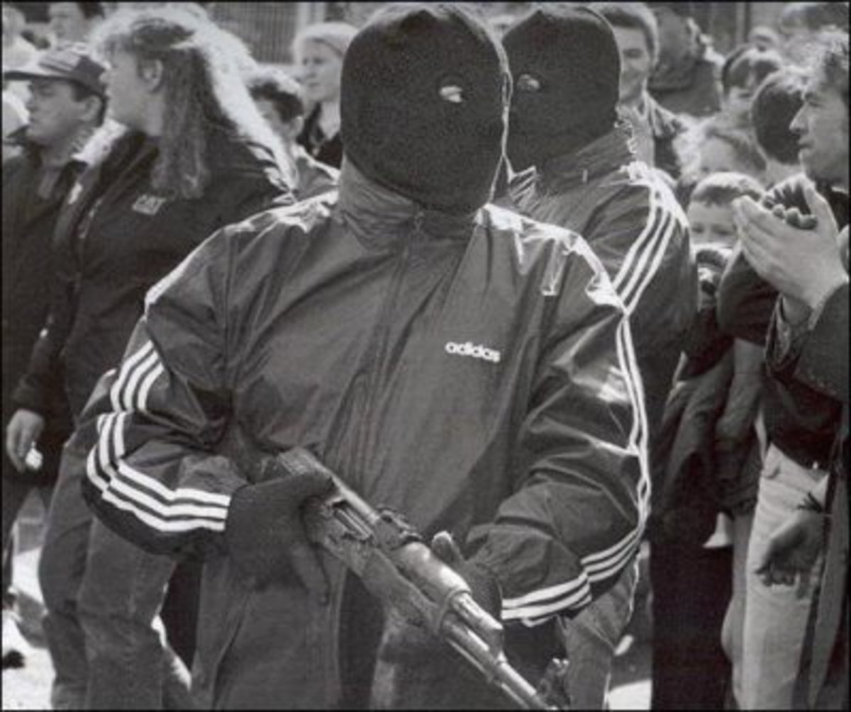 Irish Republican Army volunteer armed with an AK type rifle in North Belfast.