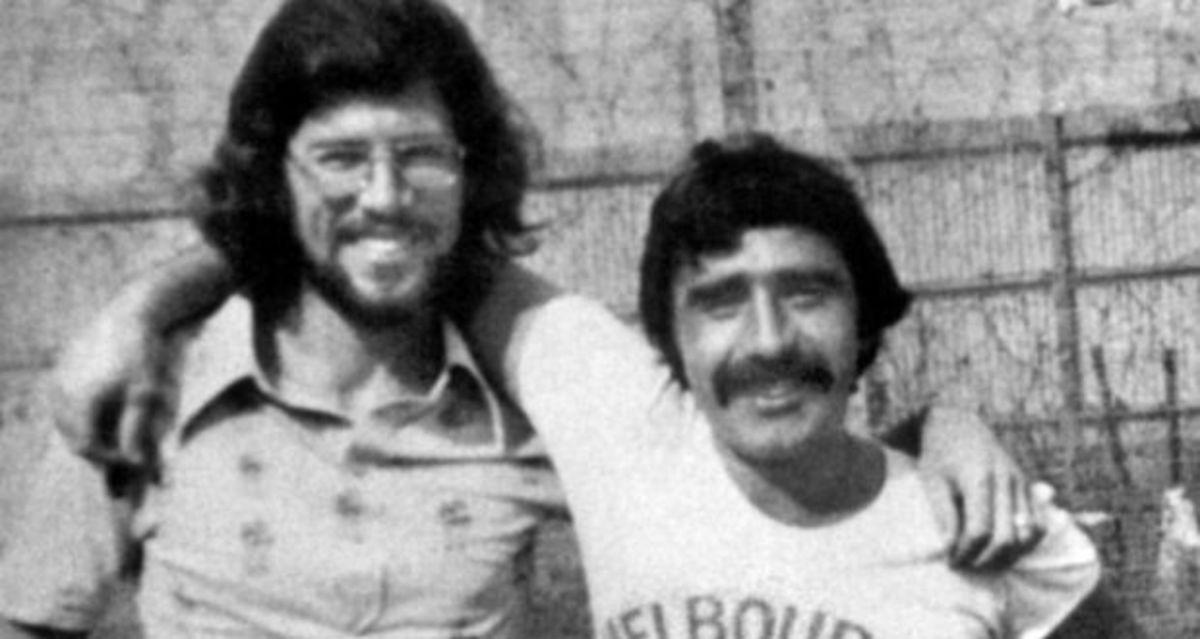 Brendan Hughes with Gerry Adams in Long Kesh prison camp.