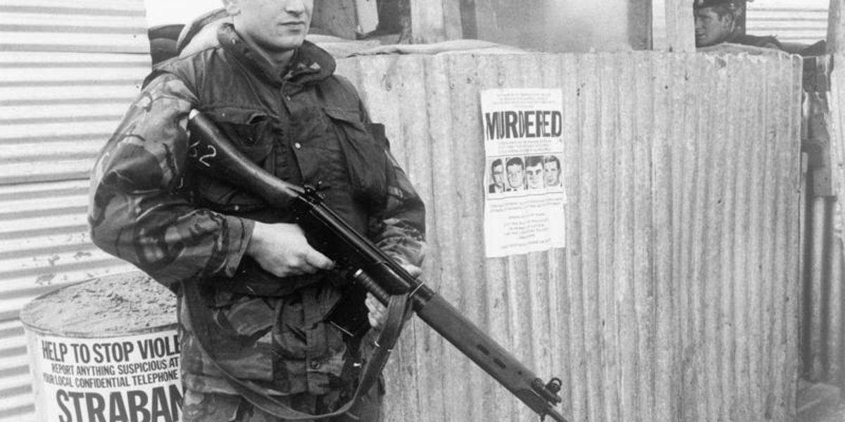 British Army soldier with an FN 'SLR' rifle