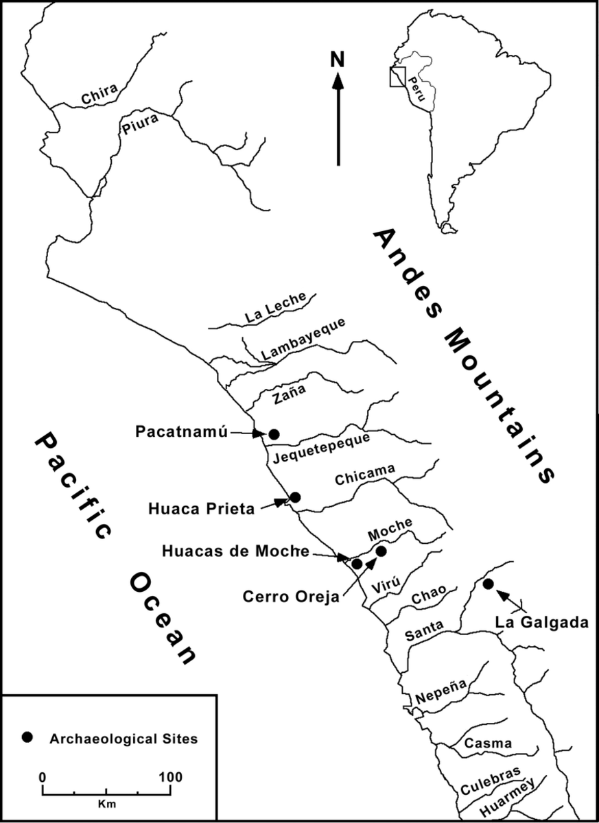 Relevant archaeological sites on Peru's northern coast