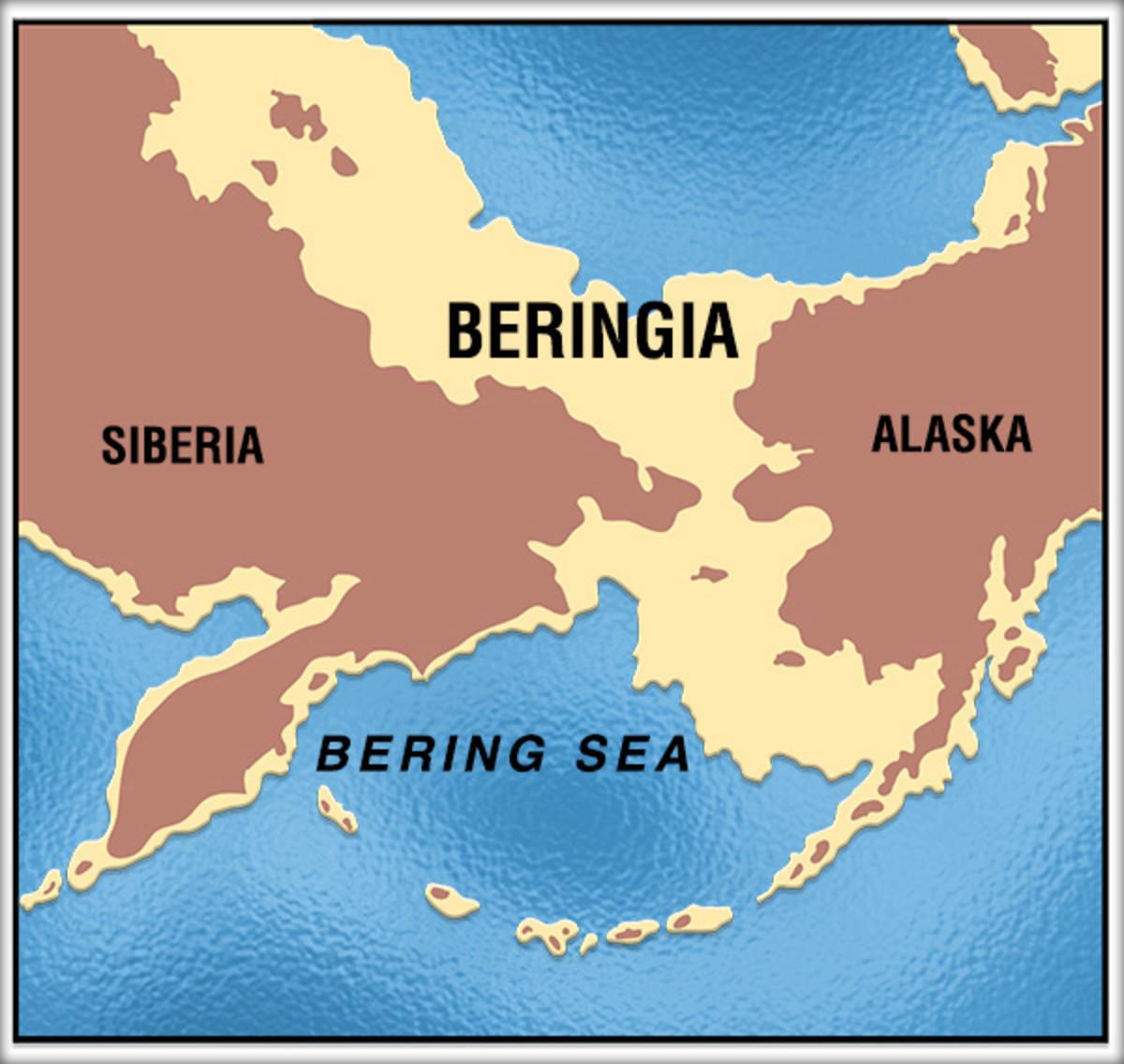 Beringian coast line at the peak of the last Ice Age