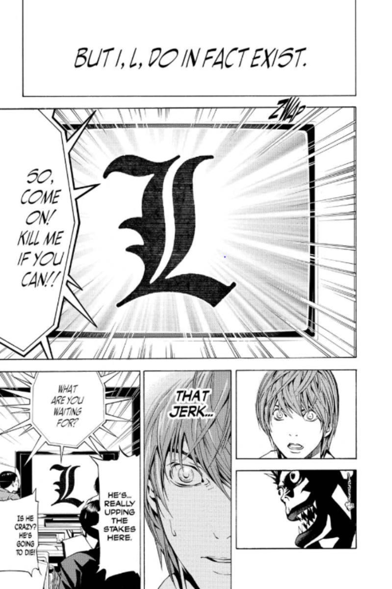 L taunts Light Yagami, challenging him to kill him.