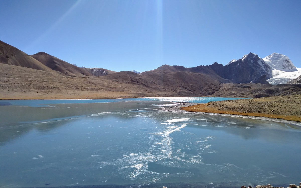A sunny day - Gurudongmar Lake and snowy mountains