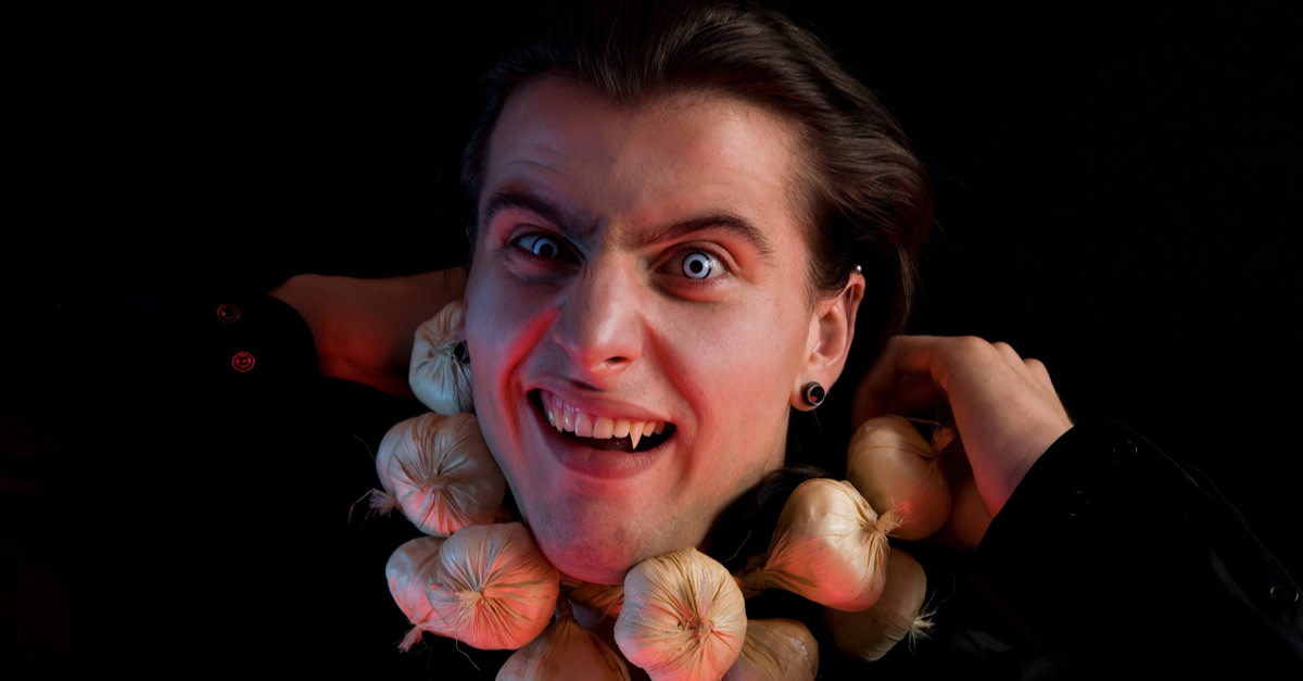 Vampire with a garlic necklace