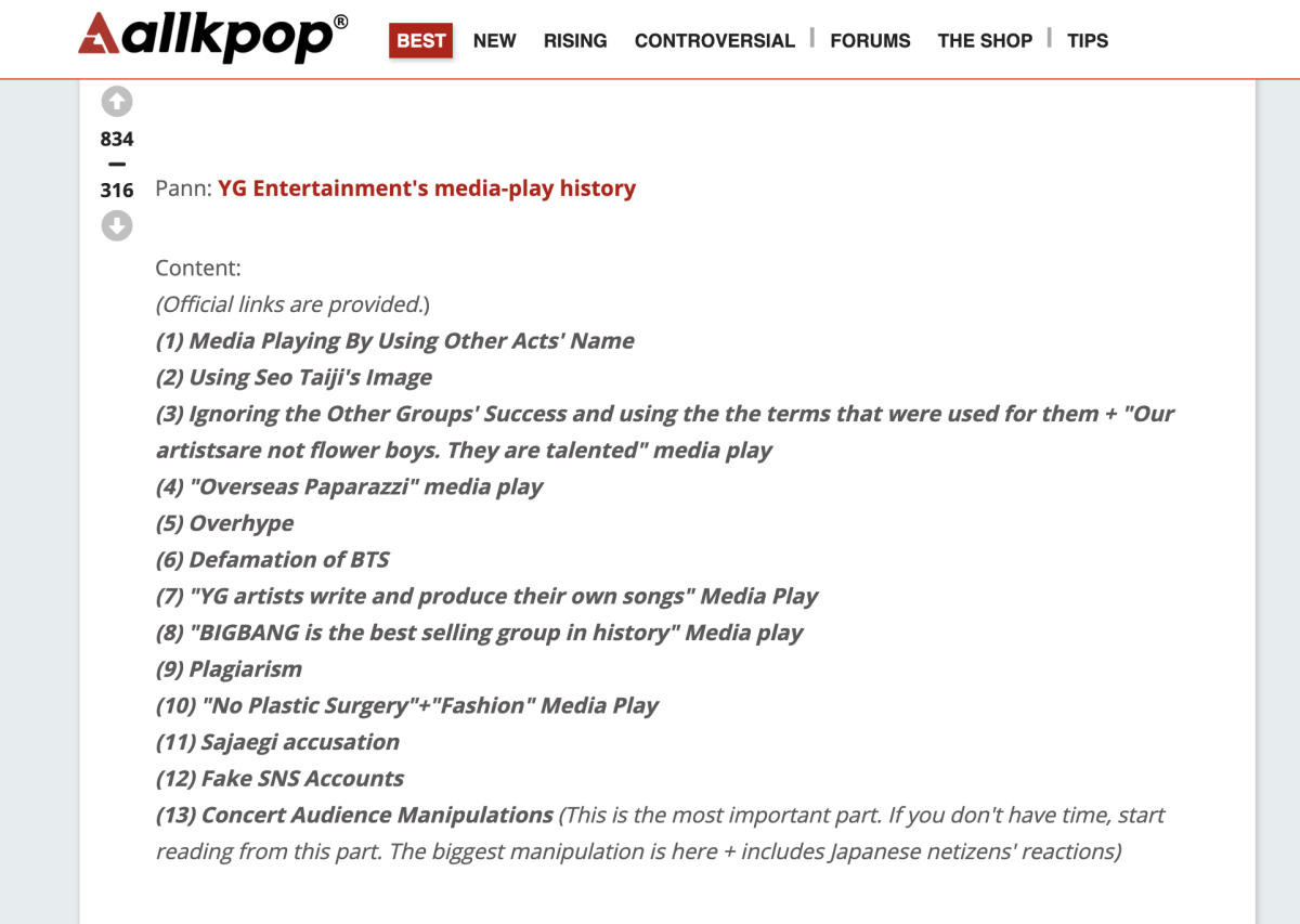 Screencap of the translation of the article about YG's media play which was written in Hanggul