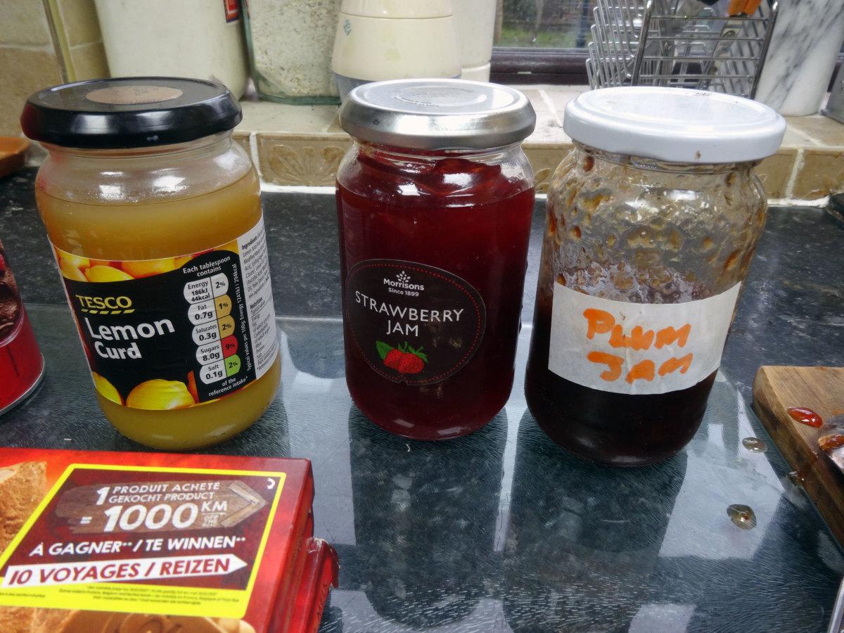 The strawberry and plum jam I used to make the jam truffles