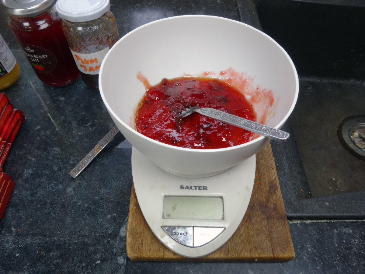 100g of jam measured out for making the jam truffles