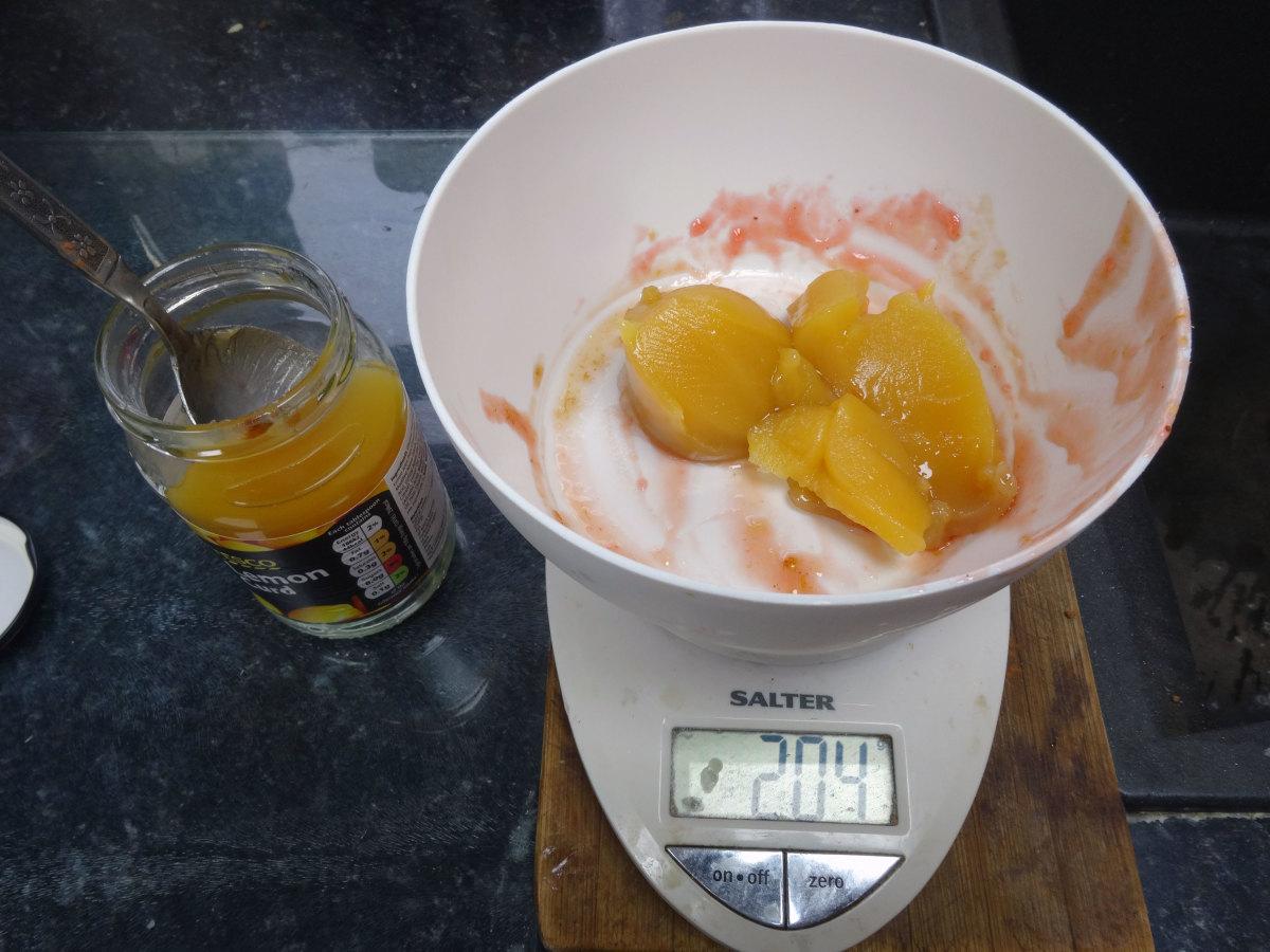 200g of lemon curd measured out for making the lemon curd truffles