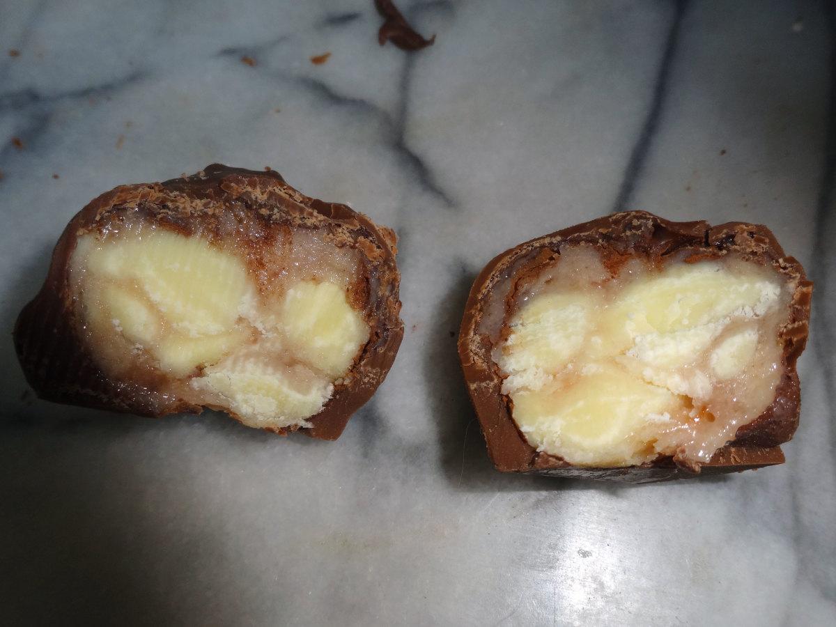 One of the truffles cut in half