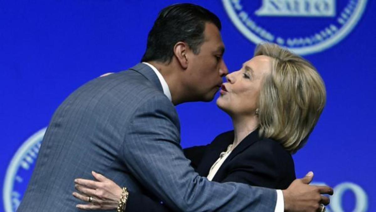 California Secretary of State Alex Padilla and Hillary Clinton