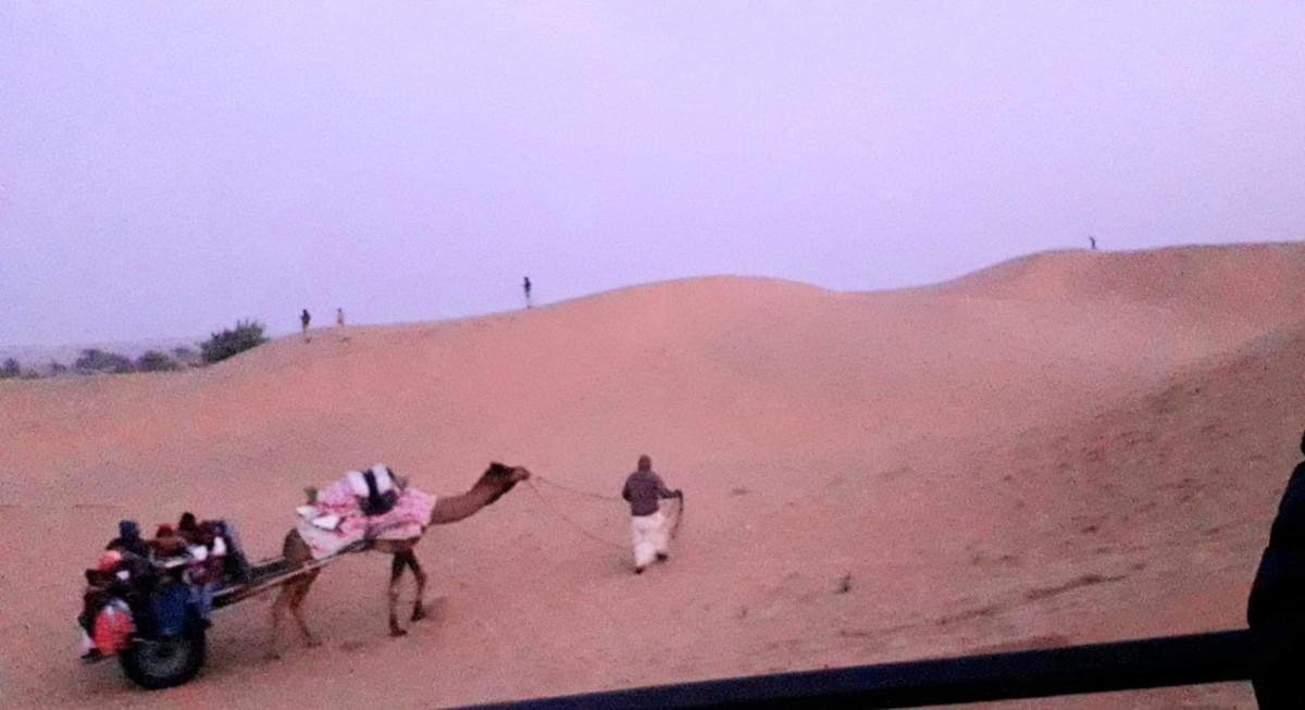 The Camel Safari at the Sand dunes of the Thar deserts, Rajasthan, India