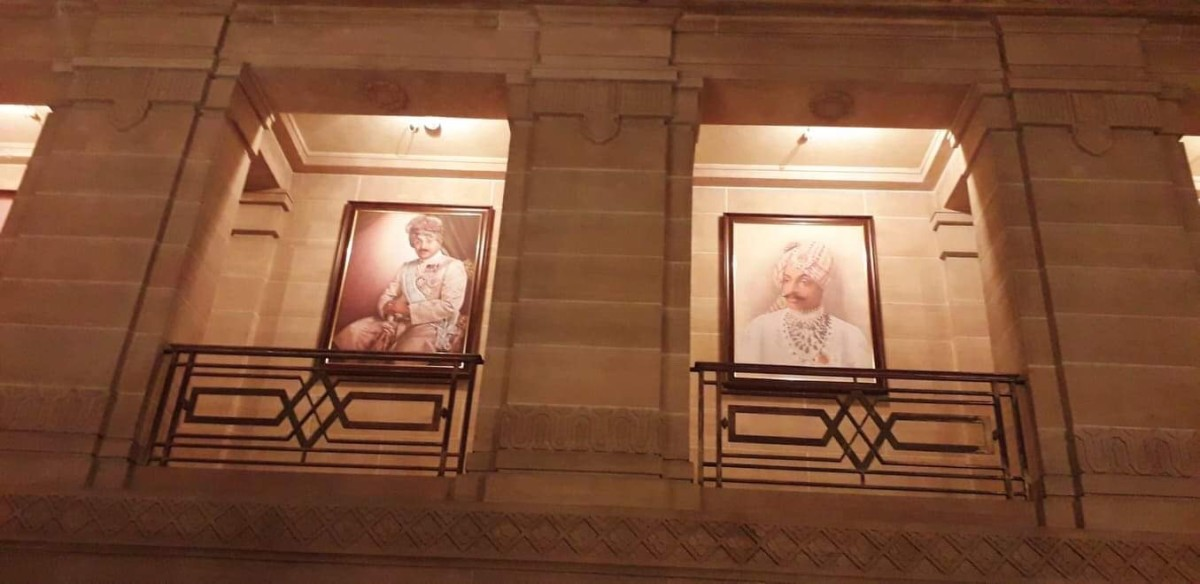 Huge portraits of former Kings are lined up around the entrance hall of the Ummaid Bhavan Palace