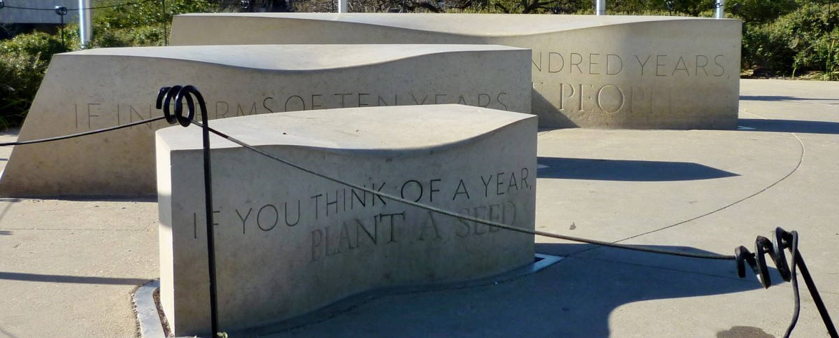 Sculptural Benches at the Top of the Garden Mound
