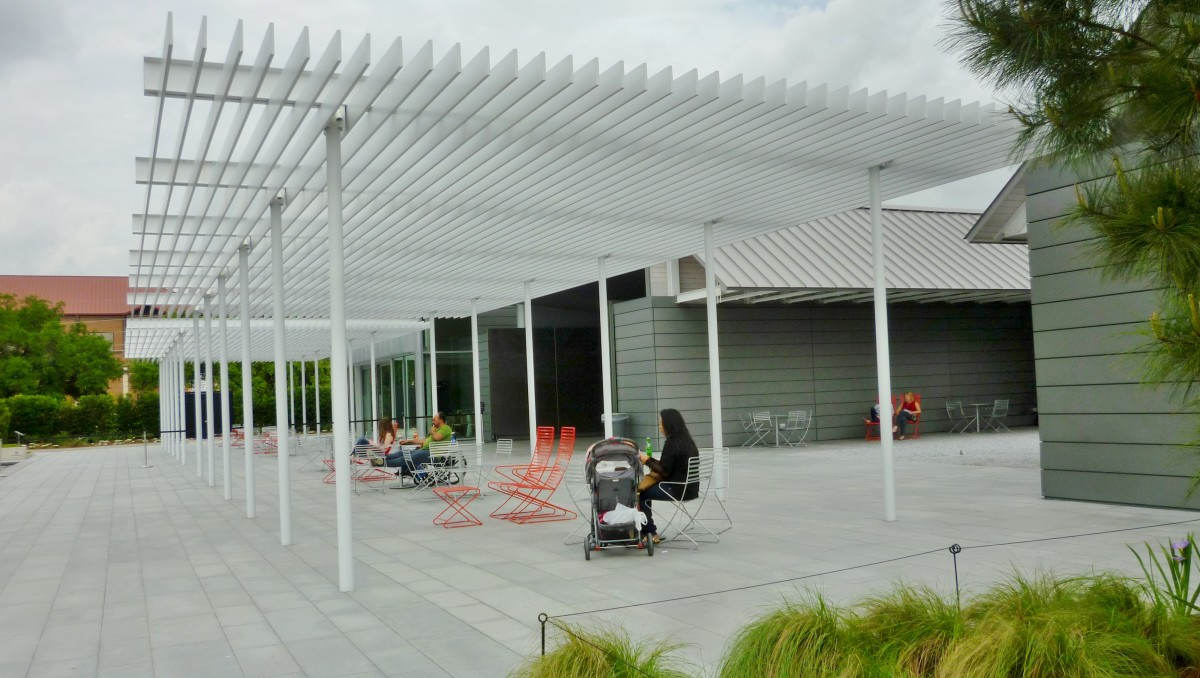 Another view of the shade structure at the Cherie Flores Garden Pavilion