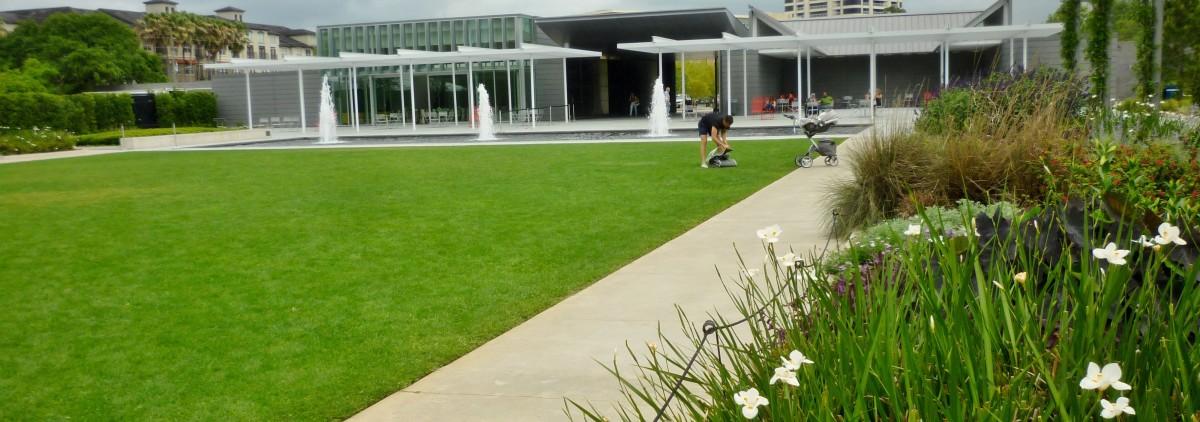Looking towards the Cherie Flores Garden Pavilion in McGovern Centennial Gardens
