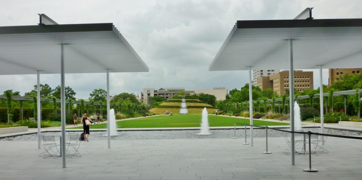 McGovern Centennial Gardens from the Cherie Flores Garden Pavilion looking towards the Garden Mount.