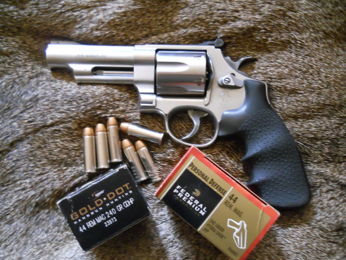 A 4-inch barrel revolver, such as this S&W Model 629, makes an excellent .44 Magnum self-defense handgun.