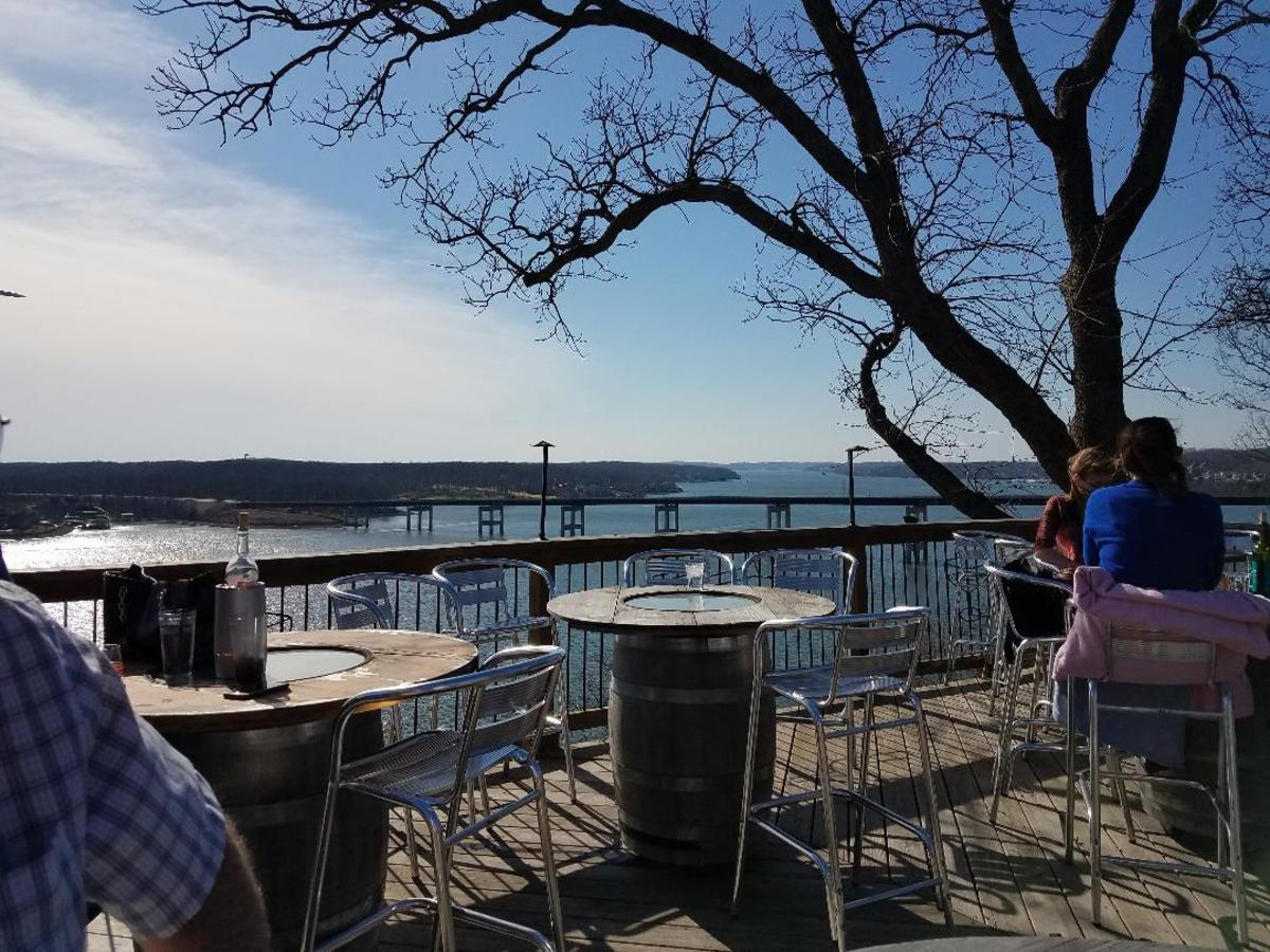 On the platform deck at Shawnee Bluff Winery, Lake of the Ozarks, MO