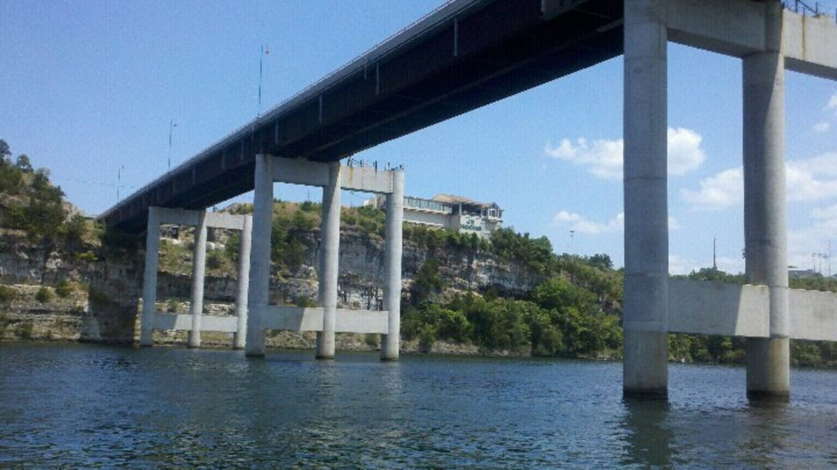 Under the bridge, looking at the bluffs where the winery is located.