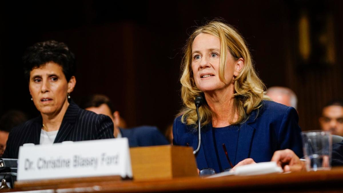 Kavanaugh's accuser, Dr. Christine Blasey Ford, testifying before the Senate Judiciary Committee on September 27, 2018