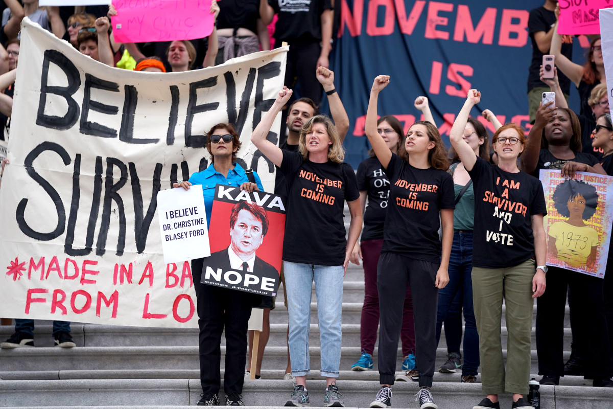 Anti-Kavanaugh protesters gather at the East Front of the US Capitol to demonstrate on October 6, 2018