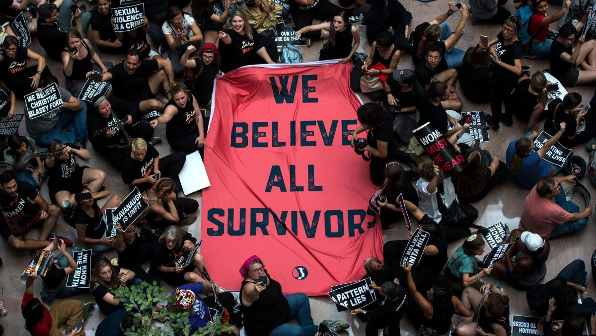 A #MeToo protest against Supreme Court nominee Judge Brett Kavanaugh in the atrium of the Hart Senate Office Building on Capitol Hill on October 4, 2018