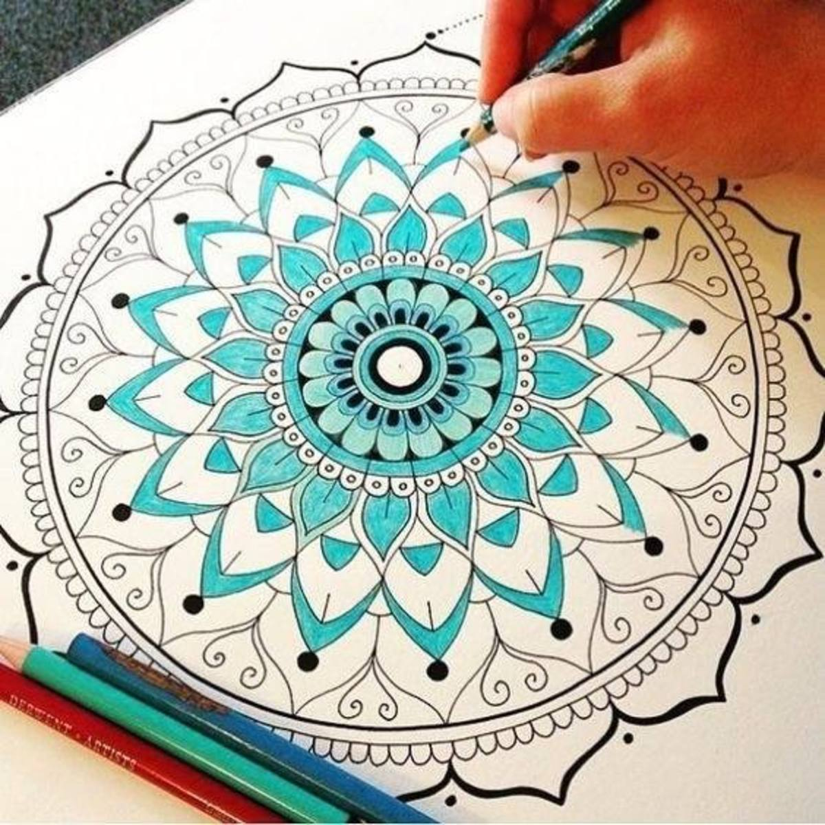 Traditional practice of drawing mandalas