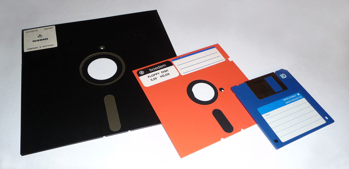 8-inch, 5 1⁄4-inch, and 3 1⁄2-inch floppy disks