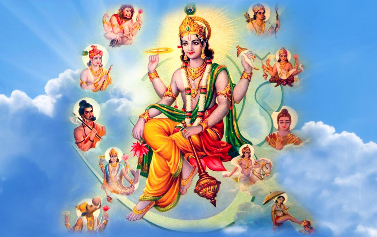 10 Avatars of Vishnu include Lord Krishna and Lord Buddha