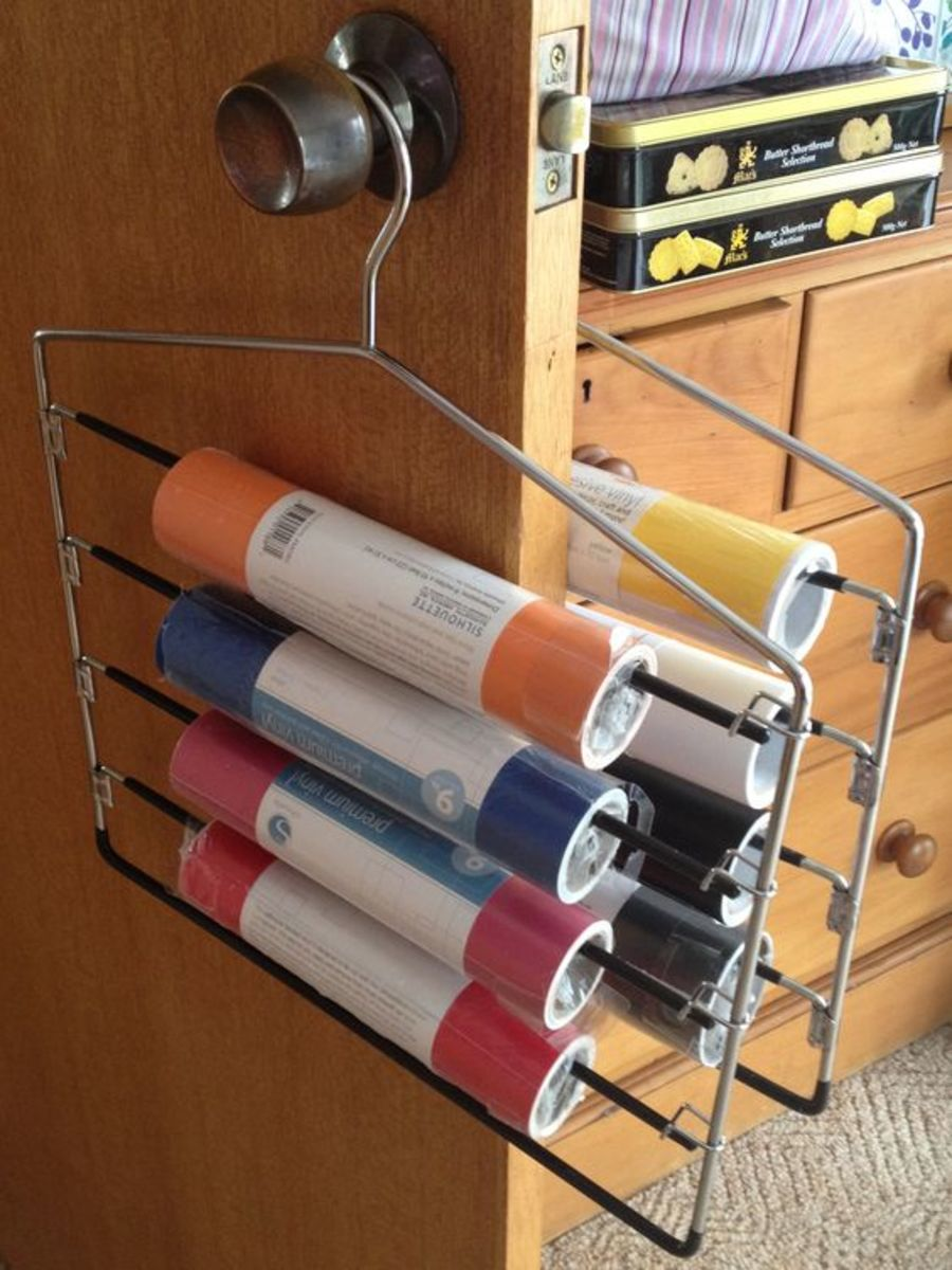 Use closet space by using pants and skirt hangers to store your vinyl