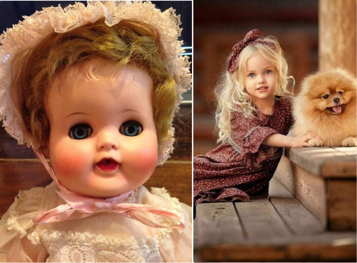 The baby doll Pom has a face rather like a cute doll's face.