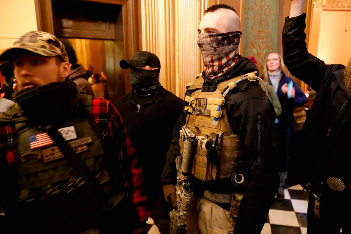 Heavily armed rural citizens storm Michigan's State Capitol. June 31st, 2020