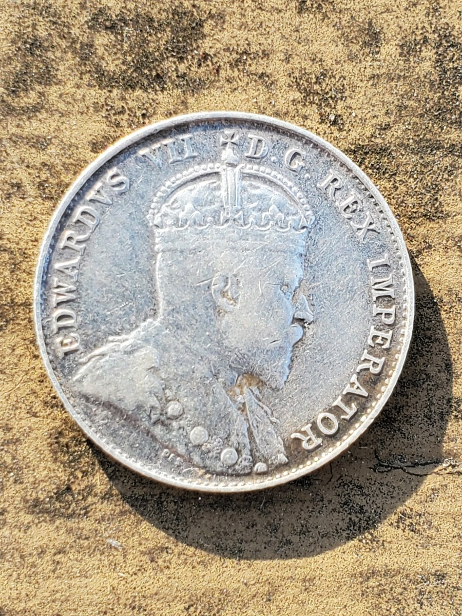 Edward VII silver Canadian coin from 1902, the first year these were minted.