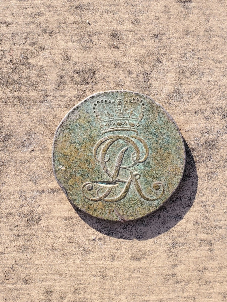 My 1795 4 Pfenning copper coin I found with my metal detector.
