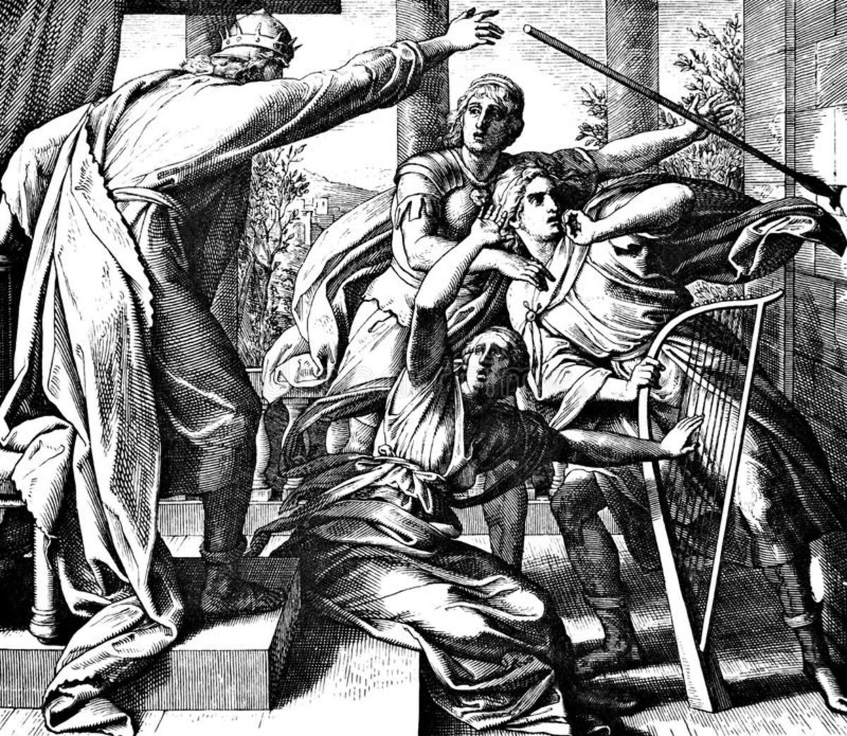 Saul tries to kill David with javelin.