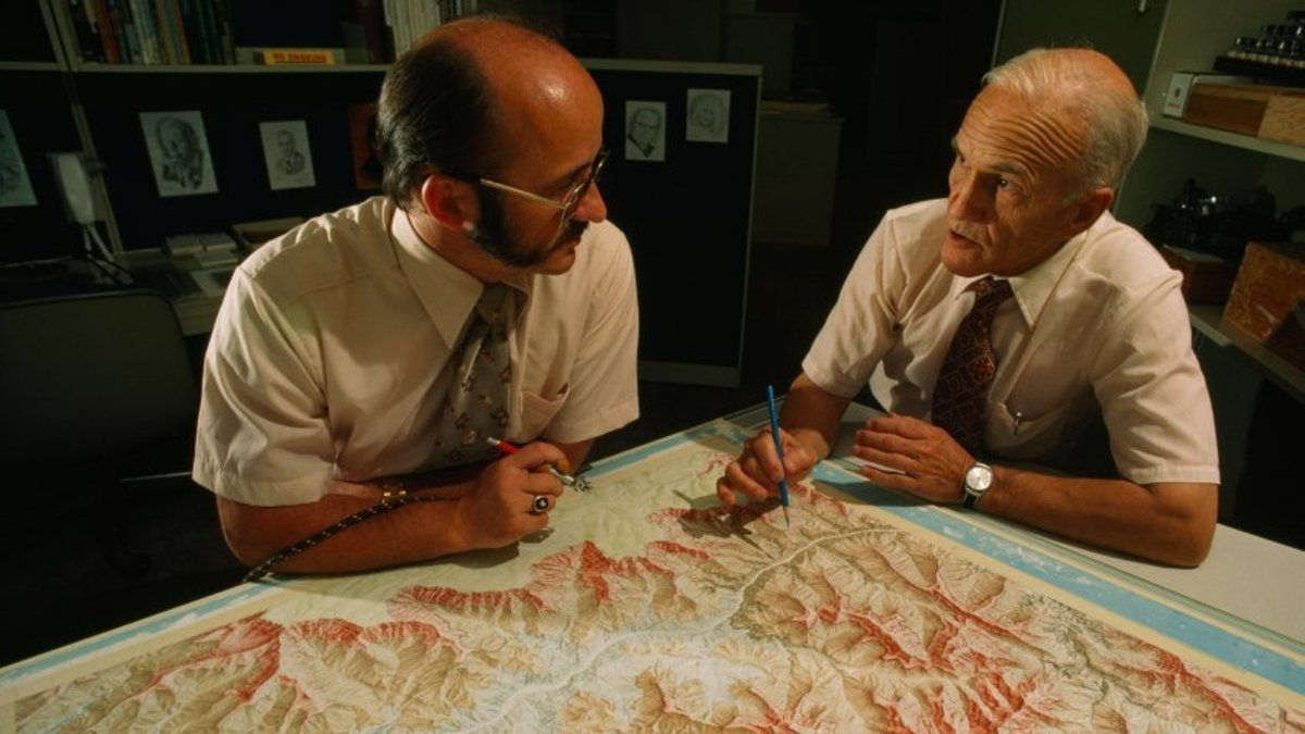 Toth and Washburn Working on Map