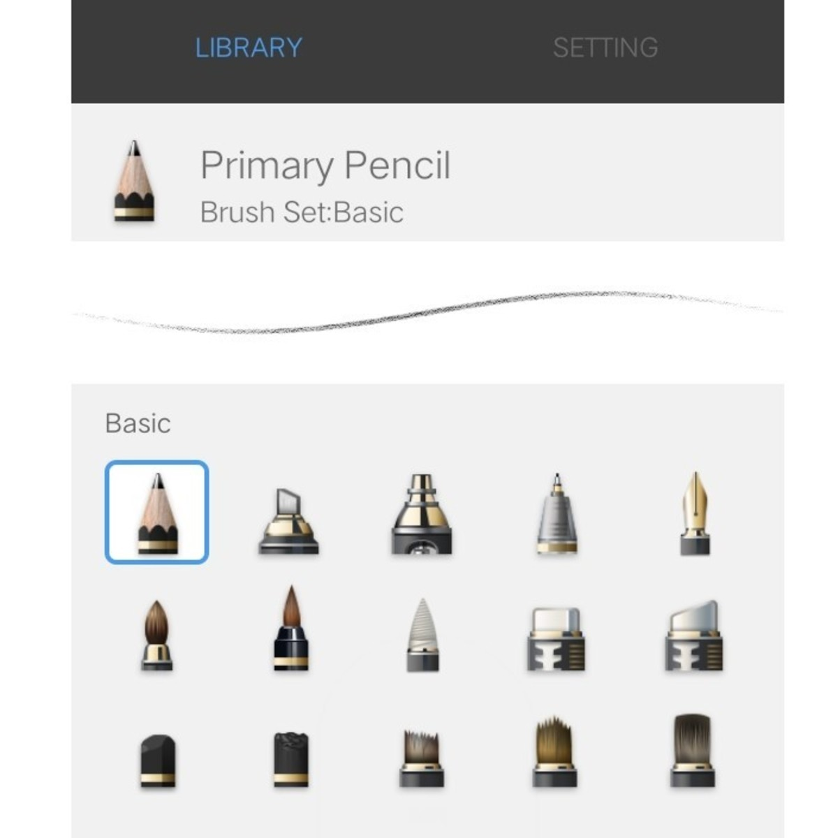 Primary pencil - often used for first layer sketches which will then be overwritten or erased once the work is done.