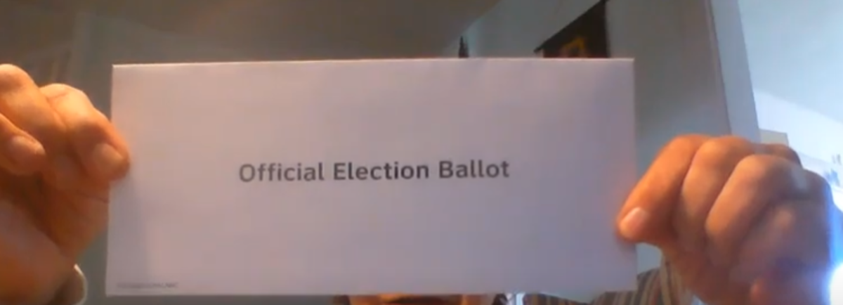 Two envelopes- this one holds your ballot and then you put THIS baby into the outer envelope.