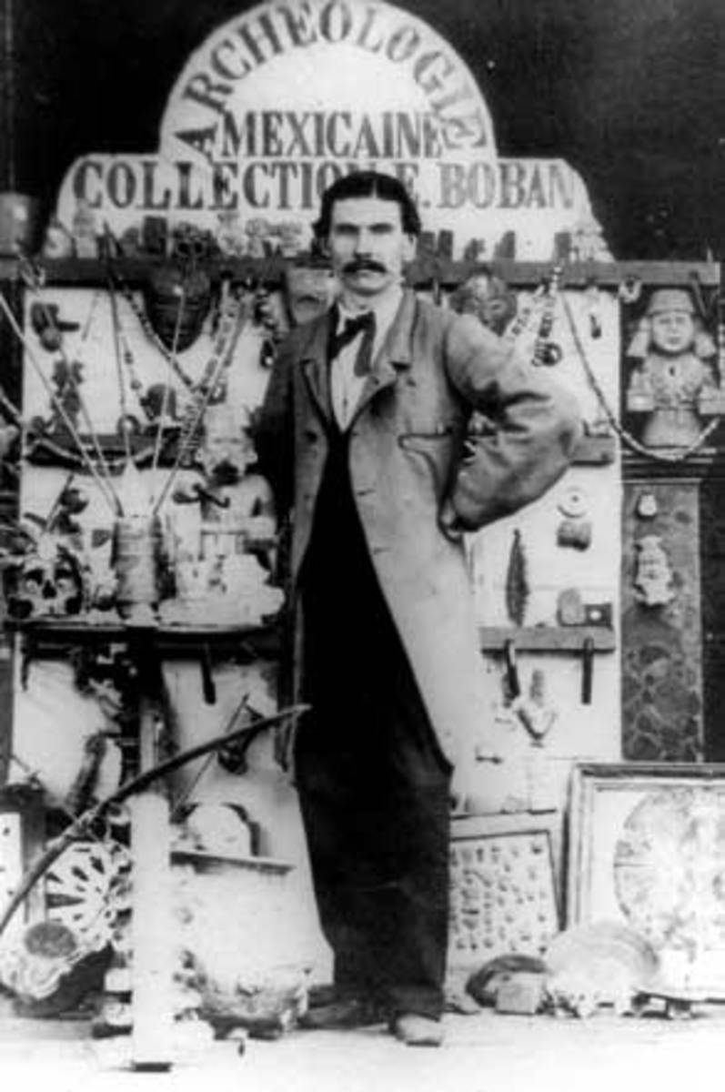 Eugène Boban is pictured here with some of his artifacts.