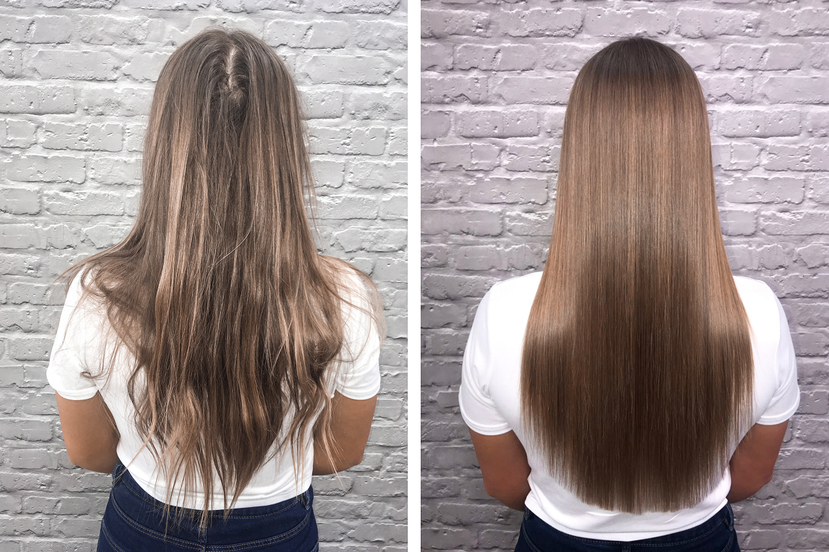 Before and after a keratin treatment.
