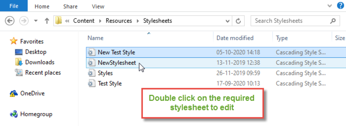 Double Click on the New Stylesheet