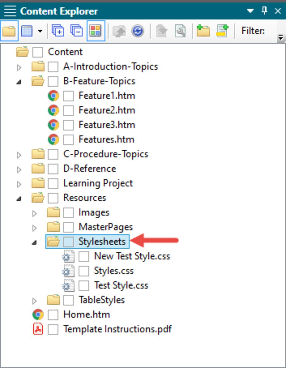 Inbuilt MadCap Flare Stylesheets Folder