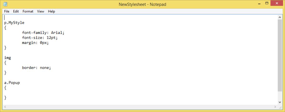 Stylesheet on Notepad