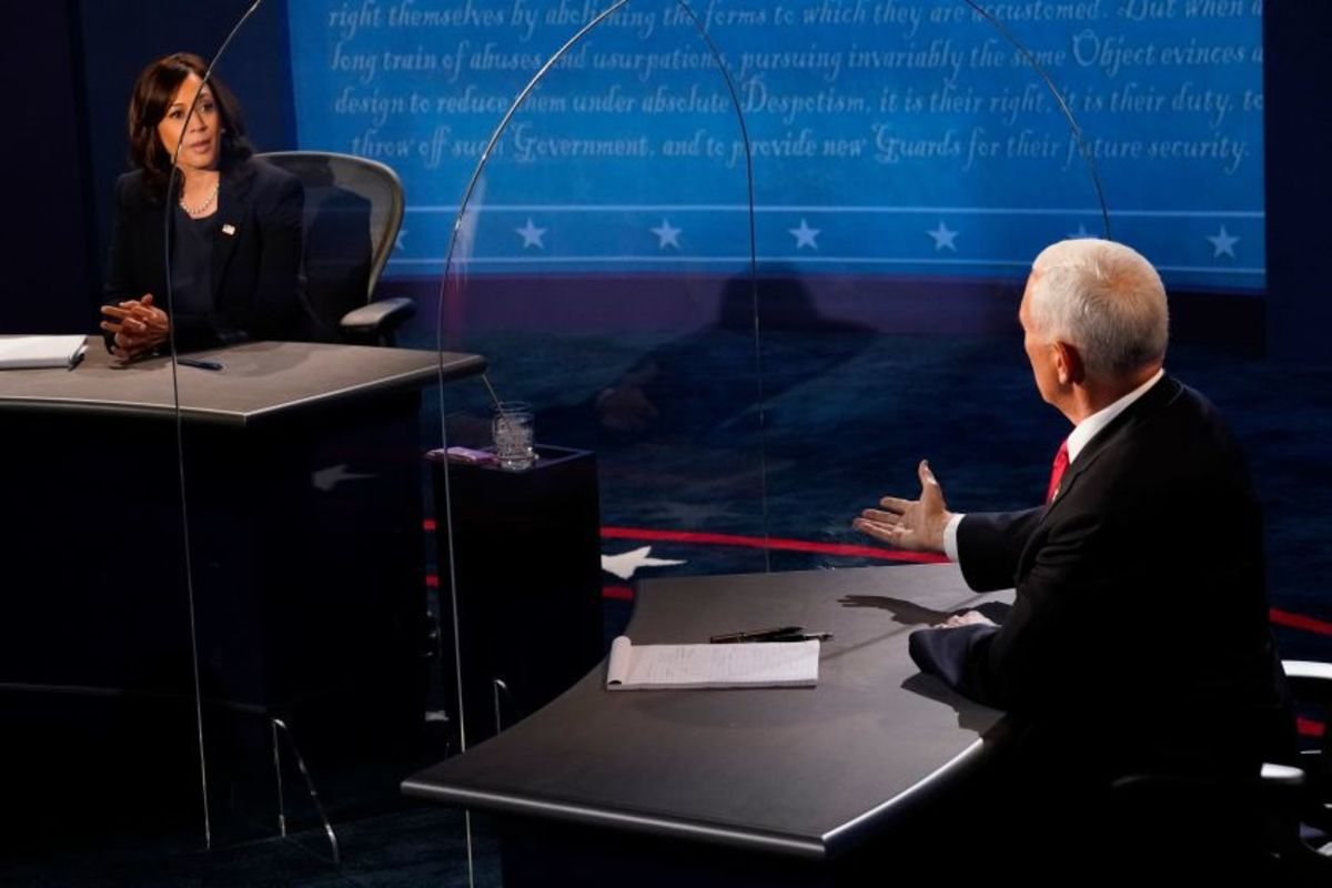 Senator Kamala Harris (D-CA) and VIce President Mike Pence (R-IN) participating in the first and only Vice Presidential debate last Wednesday at the University of Utah in Salt Lake City